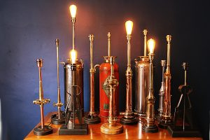 Copper brass lamp lamps lighting fire extinguisher chrome