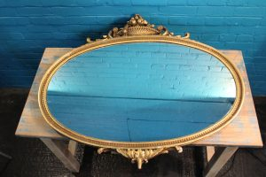Large oval gilt wall mirror 5
