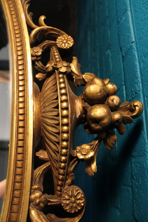 Large oval gilt wall mirror 3