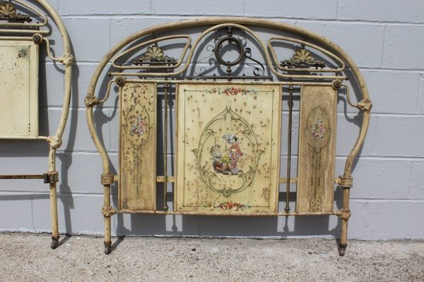Antique chinoiserie French bed frame