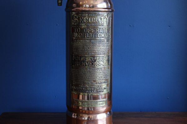 spoke copper and brass fire extinguisher lamp