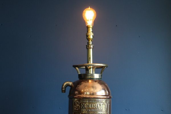 Bespoke copper and brass fire extinguisher lamp 2