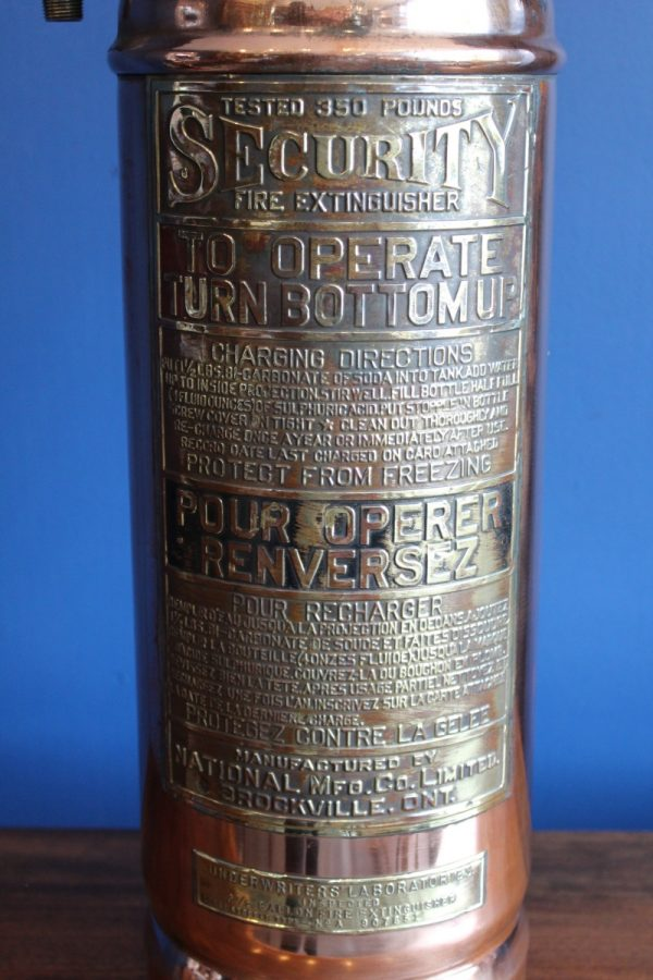 Bespoke copper and brass fire extinguisher lamp 4