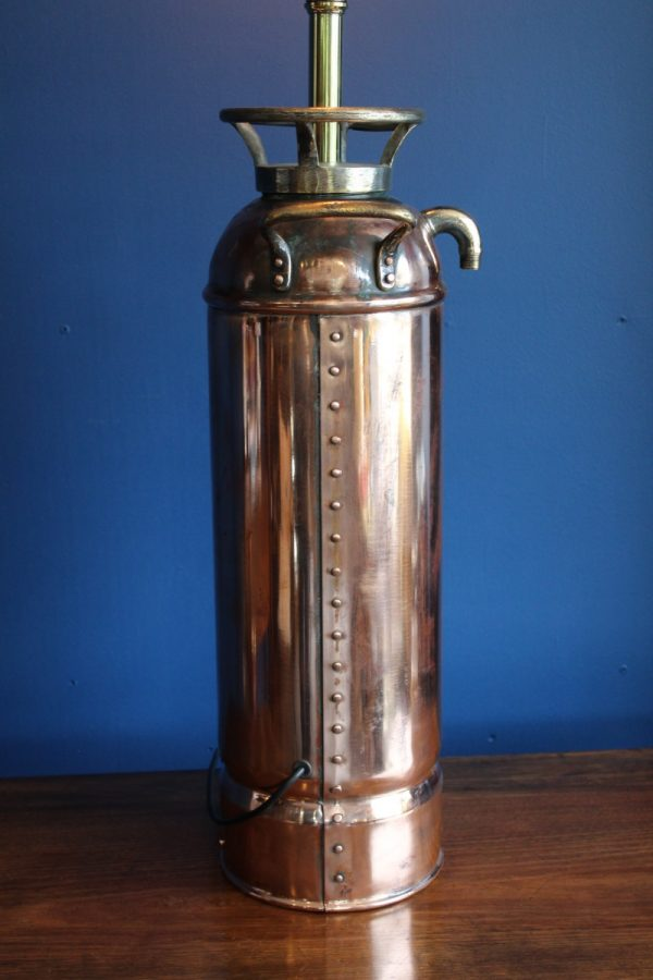 Bespoke copper and brass fire extinguisher lamp 5
