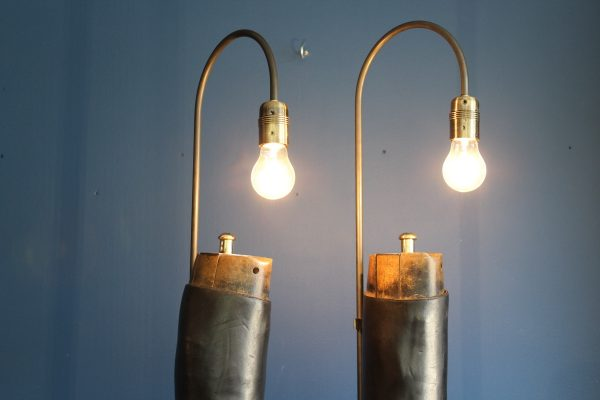 Bespoke pair of riding boot lamps