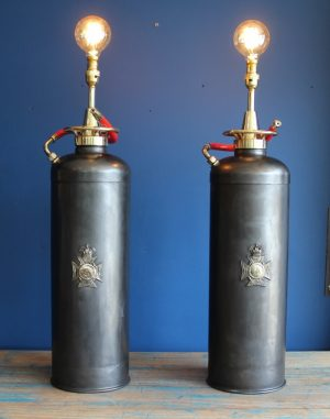 Bespoke pair of fire extinguisher lamps 1