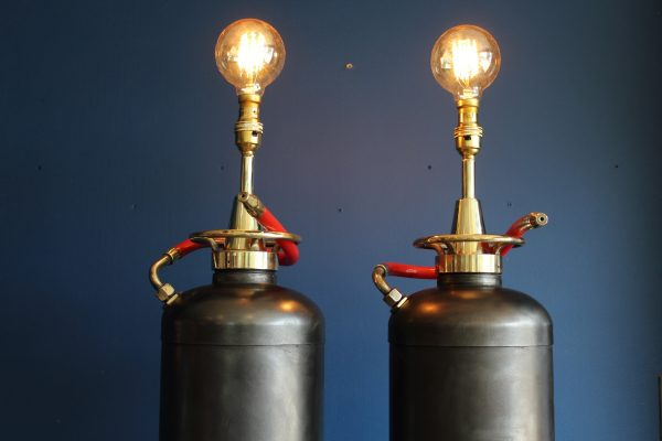 Bespoke pair of fire extinguisher lamps