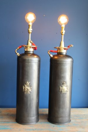Bespoke pair of fire extinguisher lamps 4
