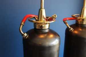 Bespoke pair of fire extinguisher lamps 3