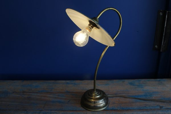 Brass lamp with green enamel shade