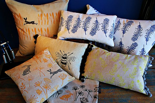 Lovely Lydia hand block-printed cushions and bags at George Juniper Peasenhall