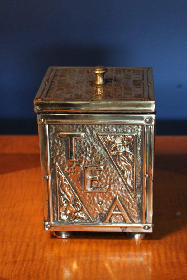 Antique brass tea caddy 2