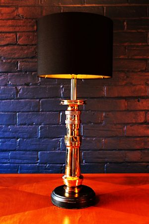 Upcycled recycled bespoke fire brass sprayer branch lamp light