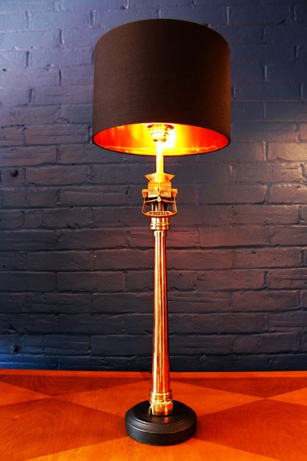 Upcycled recycled bespoke fire copper brass french branch lamp light