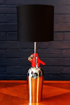 Upcycled recycled bespoke chrome red soda syphon lamp light 1