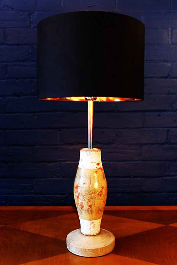 Upcycled recycled bespoke wooden skittle lamp light