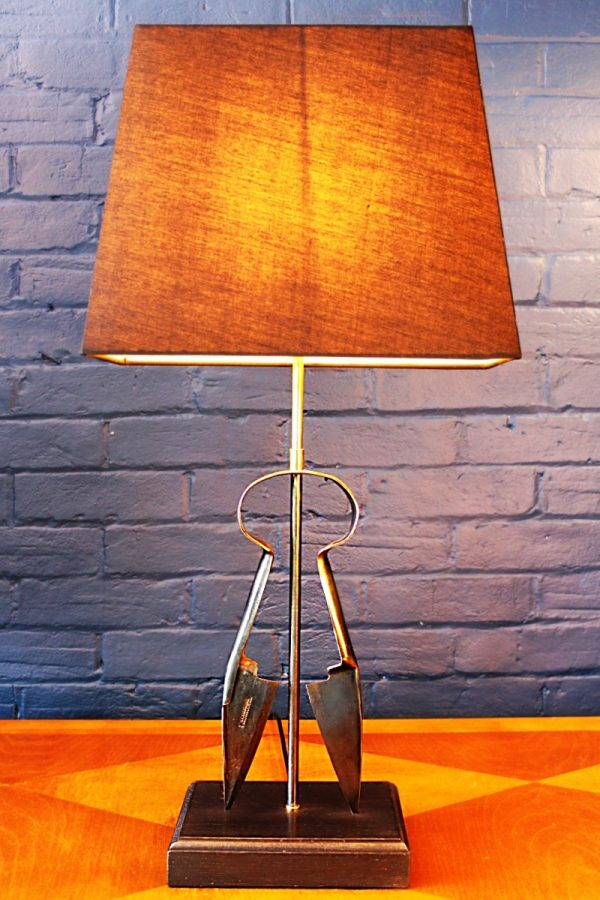 Upcycled recycled bespoke wool shears lamp light