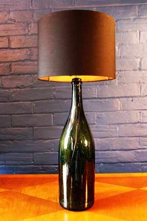 Upcycling recycling green glass jeroboam bottle lamp light