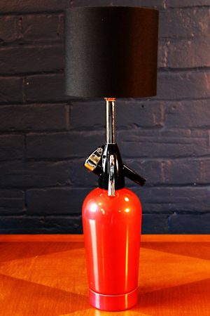 Upcycled recycled bespoke red soda syphon lamp light 30
