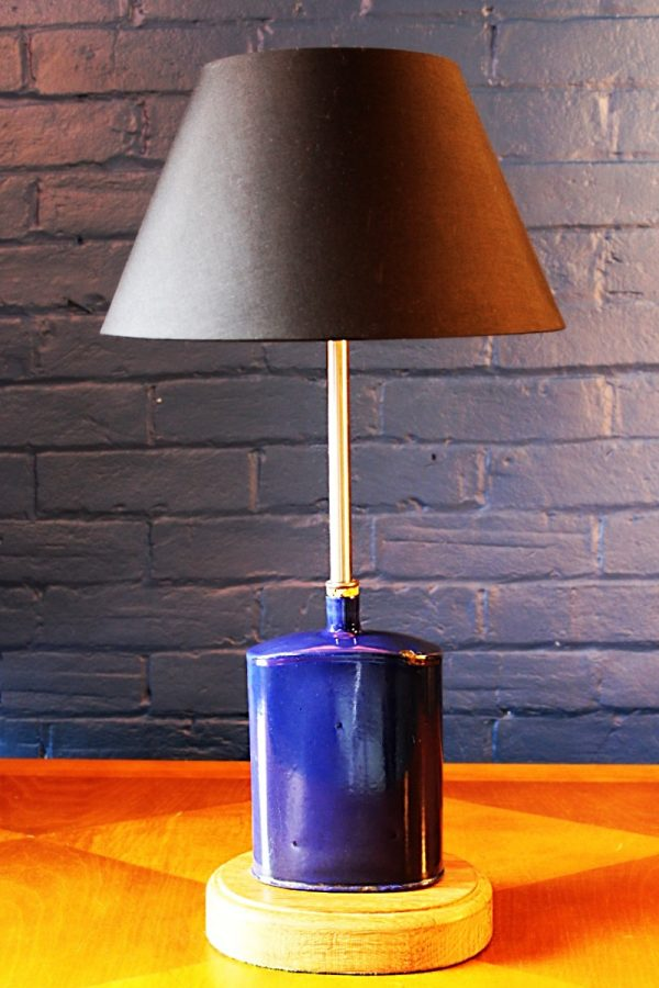 upcycling recycling bespoke blue metal flask cork lamp light