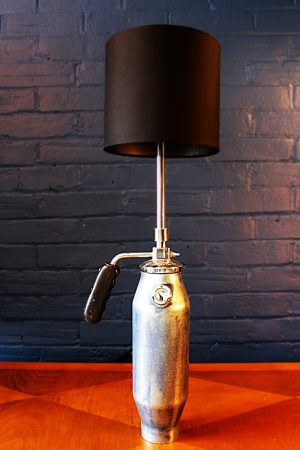 upcycling recycling bespoke blue fire extinguisher dial lamp light