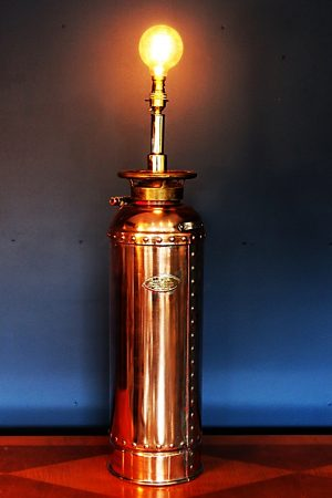 upcycling recycling brass copper fire extinguisher lamp light 1