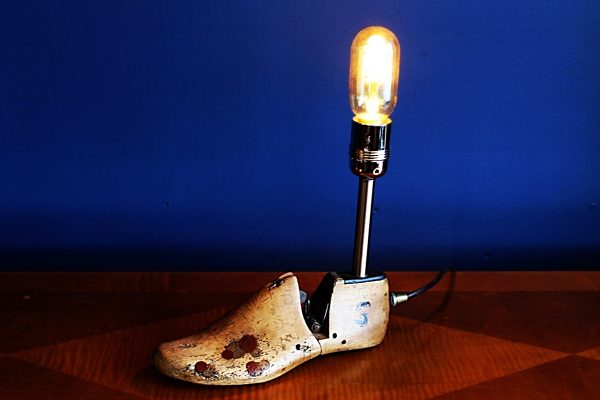 upcycled recycled bespoke wooden shoe last light lamp 2
