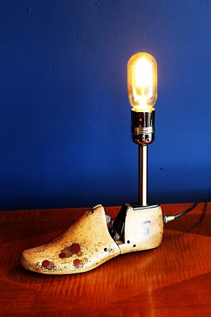 upcycled recycled bespoke wooden shoe last light lamp 1