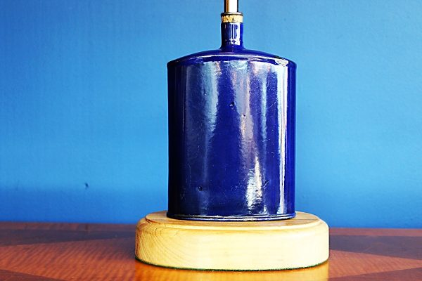 upcycled recycled bespoke metal blue flask light lamp 2