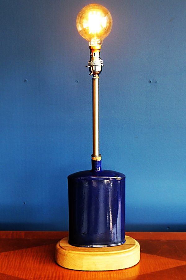 upcycled recycled bespoke metal blue flask light lamp 1