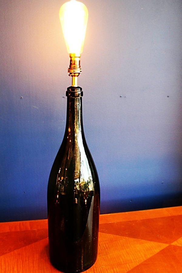 upcycling recycling bespoke green bottle jeraboam lamp light 1