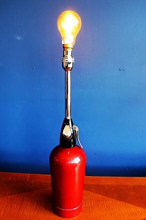 upcycling recycling bespoke red soda syphon lamp light 6