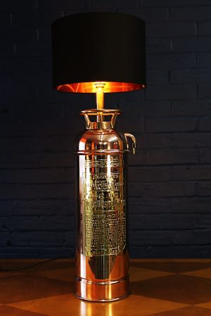 Upcycled recycled bespoke copper brass fire extinguisher lamp light 1