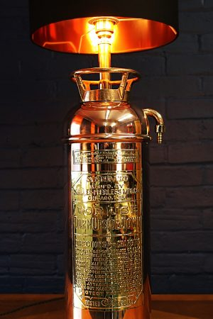 Upcycled recycled bespoke copper brass fire extinguisher lamp light