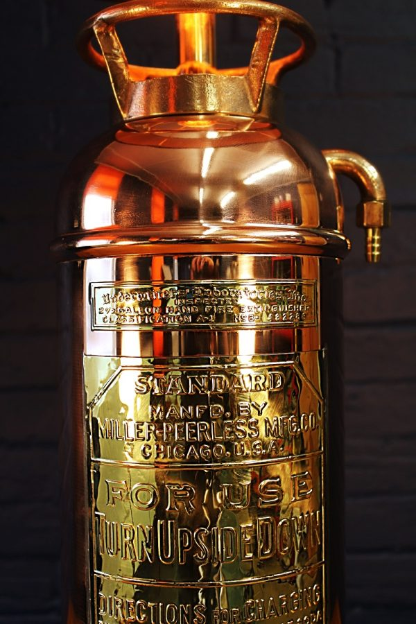 Upcycled recycled bespoke copper brass fire extinguisher lamp light 2