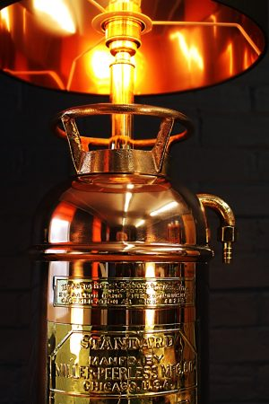 Upcycled recycled bespoke copper brass fire extinguisher lamp light 3