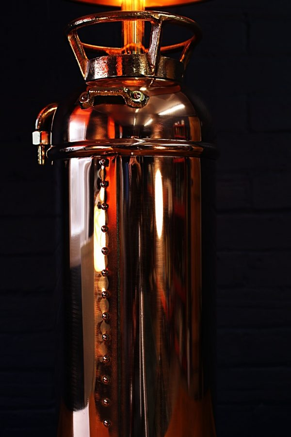 Upcycled recycled bespoke copper brass fire extinguisher lamp light 4
