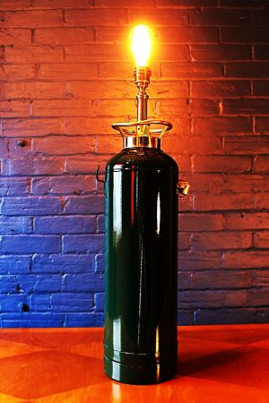 Upcycled recycled bespoke painted fire extinguisher lamp light 2
