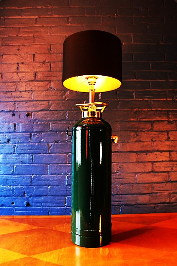 Upcycled recycled bespoke painted fire extinguisher lamp light 1