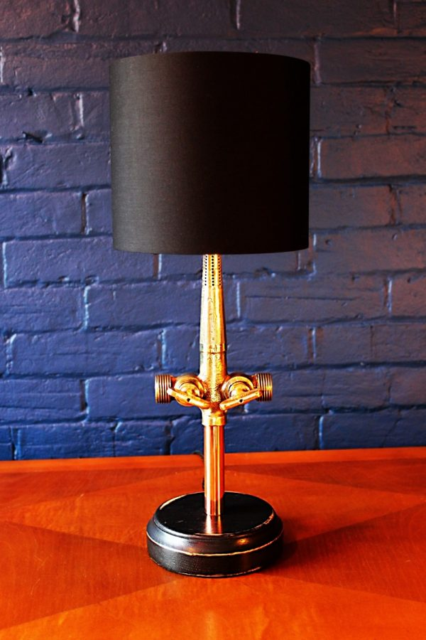 Upcycled recycled bespoke brass beer barrel tap table lamp light