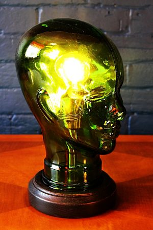 upcycling recycling glass head lamp light 1