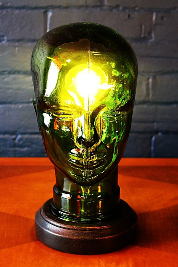 upcycling recycling glass head lamp light 3