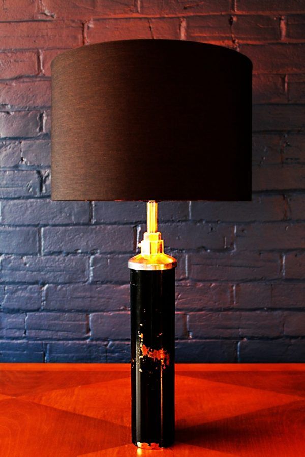 Upcycled recycled bespoke black copper fire extinguisher lamp light 1