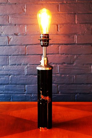 Upcycled recycled bespoke black copper fire extinguisher lamp light 2