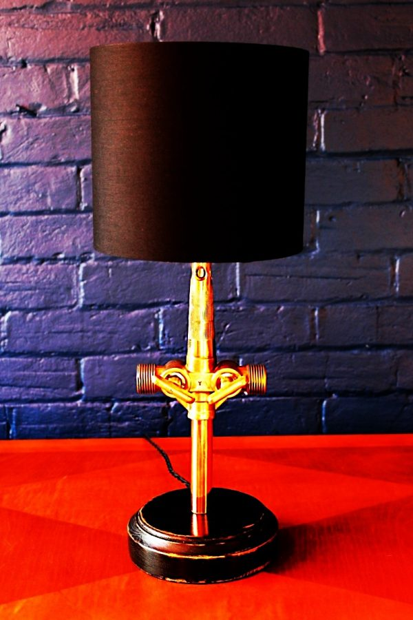 Upcycled recycled bespoke brass beer barrel tap lamp light 9