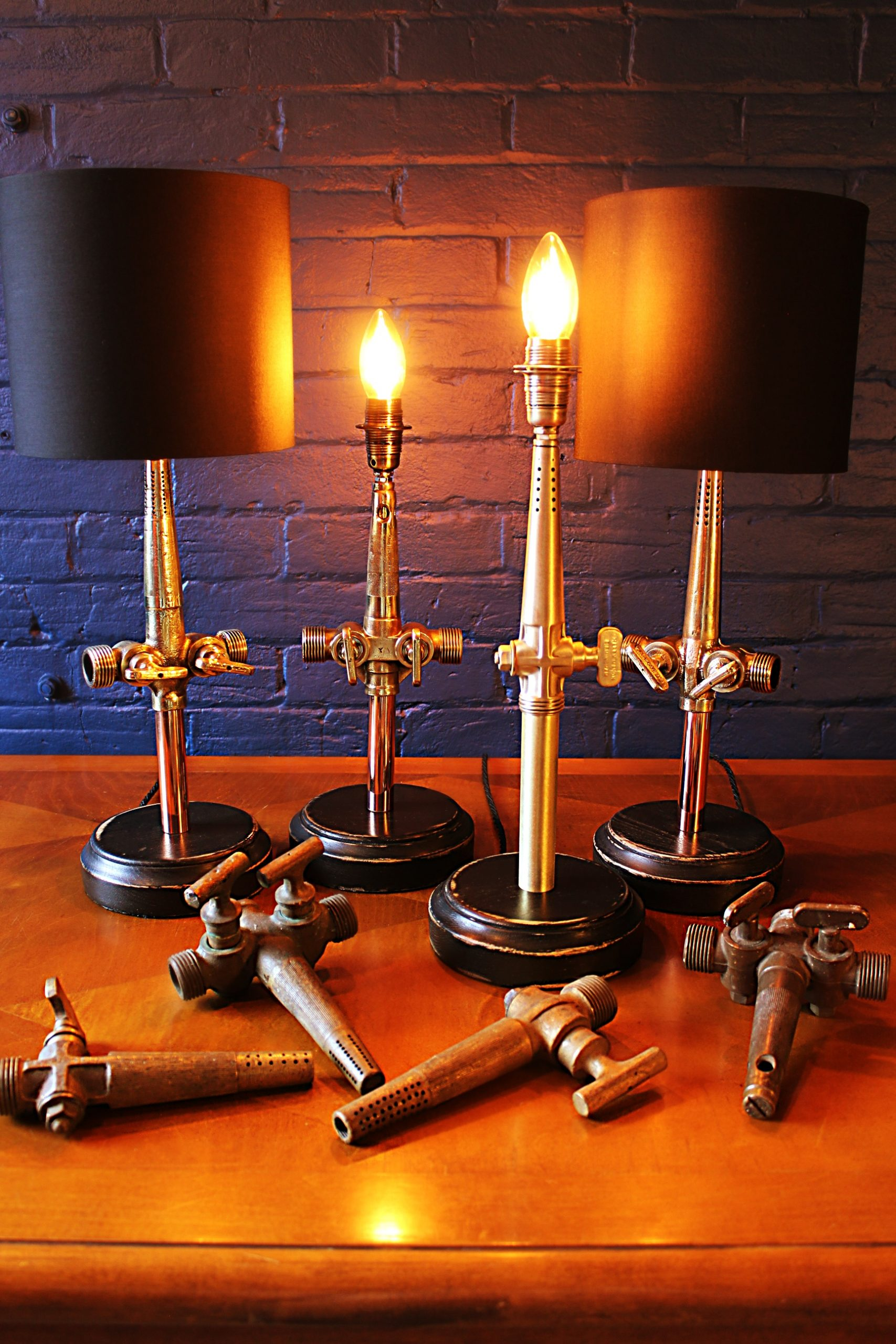 Upcycled recycled bespoke brass barrel tap lamp light pack