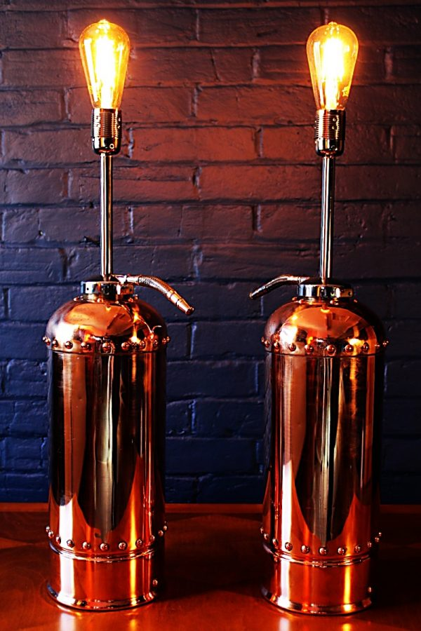 Upcycled recycled bespoke copper chrome fire extinguisher lamp light 1