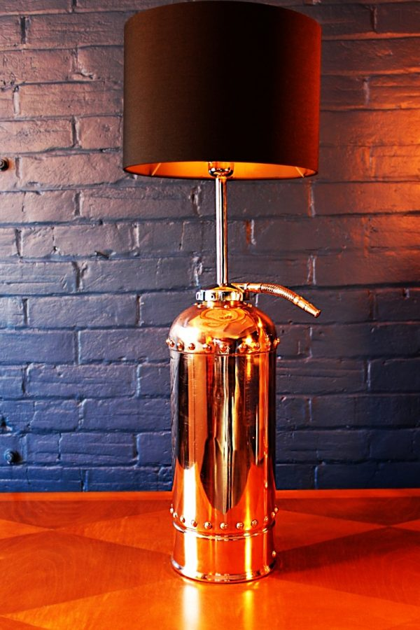 Upcycled recycled bespoke copper chrome fire extinguisher lamp light 7