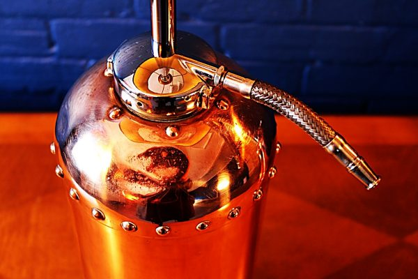Upcycled recycled bespoke copper chrome fire extinguisher lamp light 9
