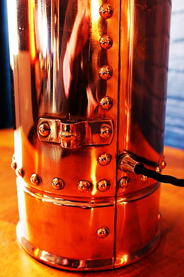 Upcycled recycled bespoke copper chrome fire extinguisher lamp light 10